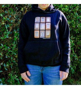 Black carded sweatshirt with hood
