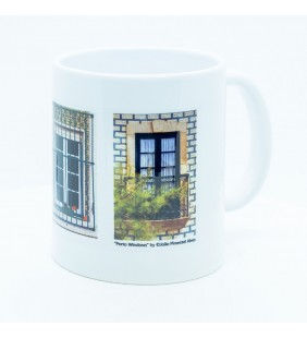 Ceramic mug with image of three Porto windows