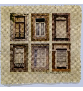 Printed Linen Canvas with Photograph of 6 Windows of Porto