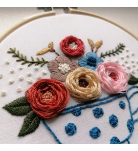Embroidery Tea Cup with Flowers