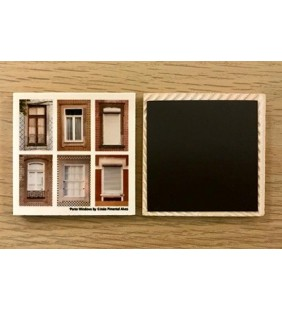 Square ceramic magnet with images of 6 Porto windows